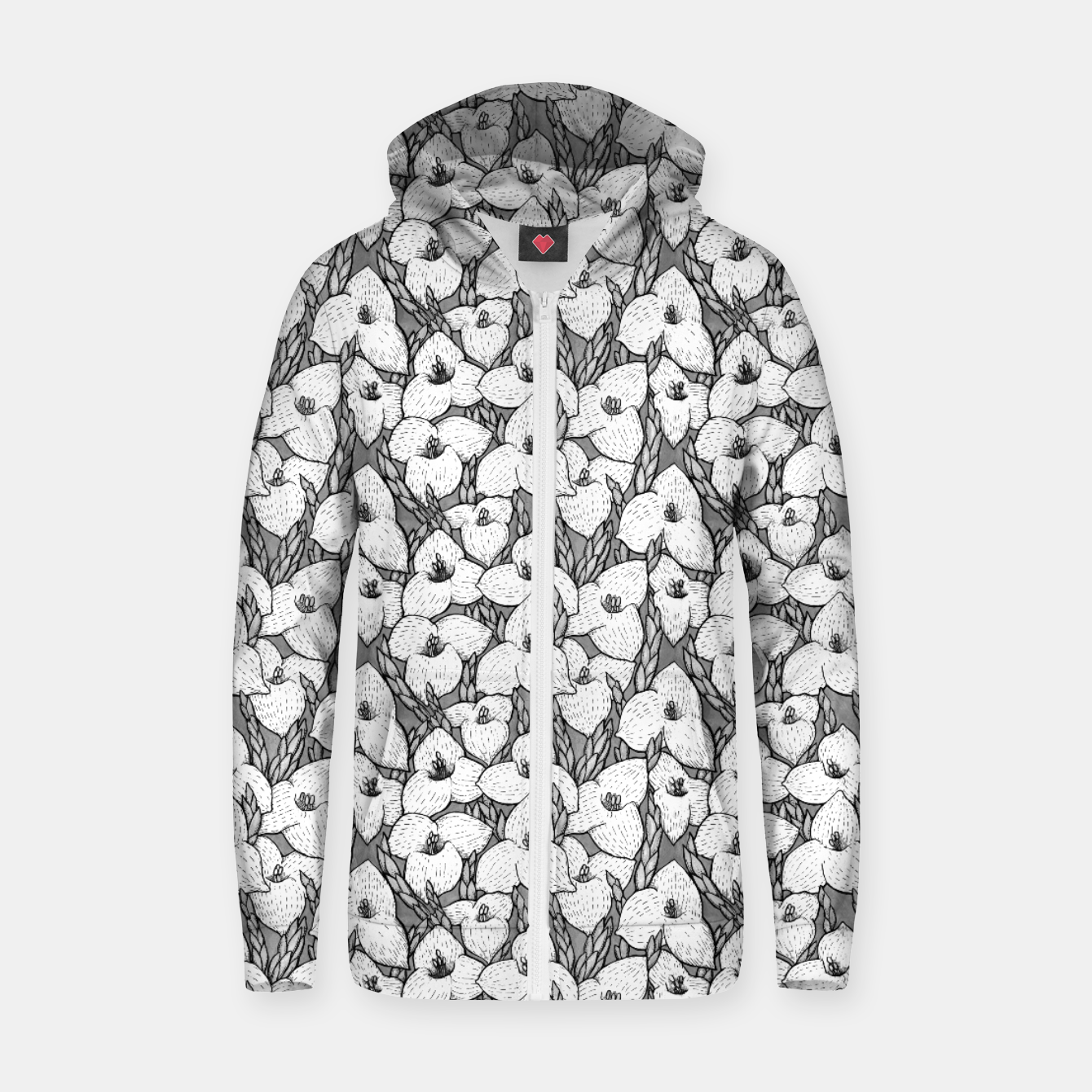 Image of Puya Flowers Floral Botanical Pattern White Grey  Zip up hoodie - Live Heroes