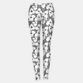Puya Flowers Floral Botanical Pattern White Grey  Leggings thumbnail image