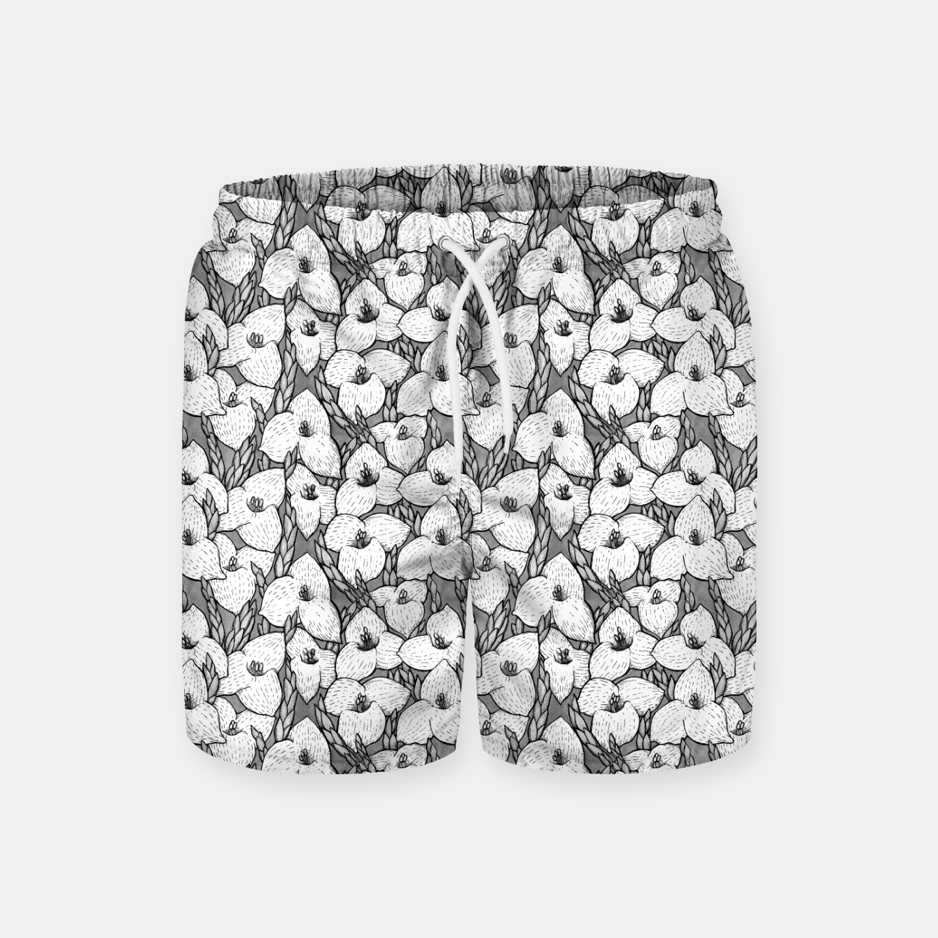 Image of Puya Flowers Floral Botanical Pattern White Grey  Swim Shorts - Live Heroes
