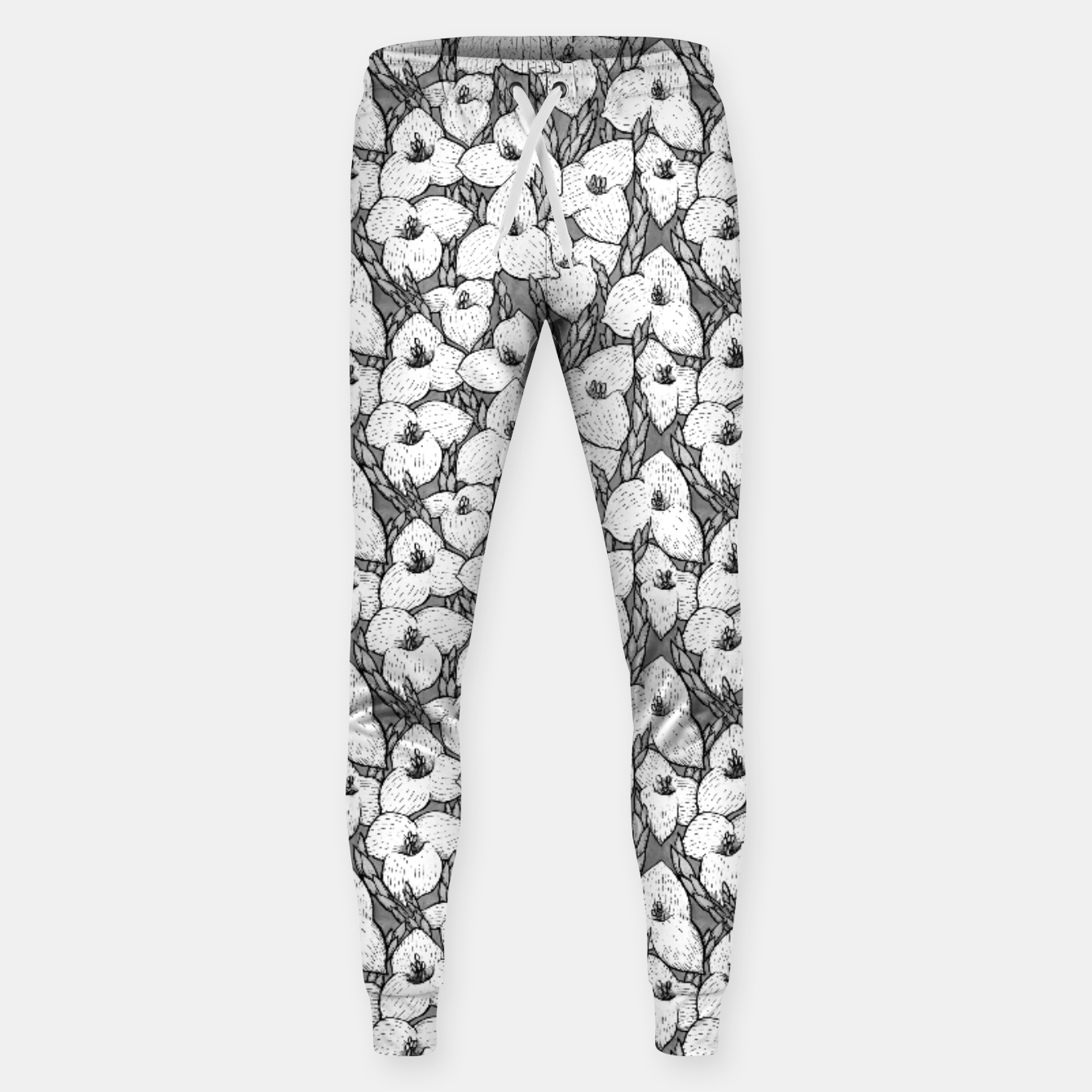 Image of Puya Flowers Floral Botanical Pattern White Grey  Sweatpants - Live Heroes