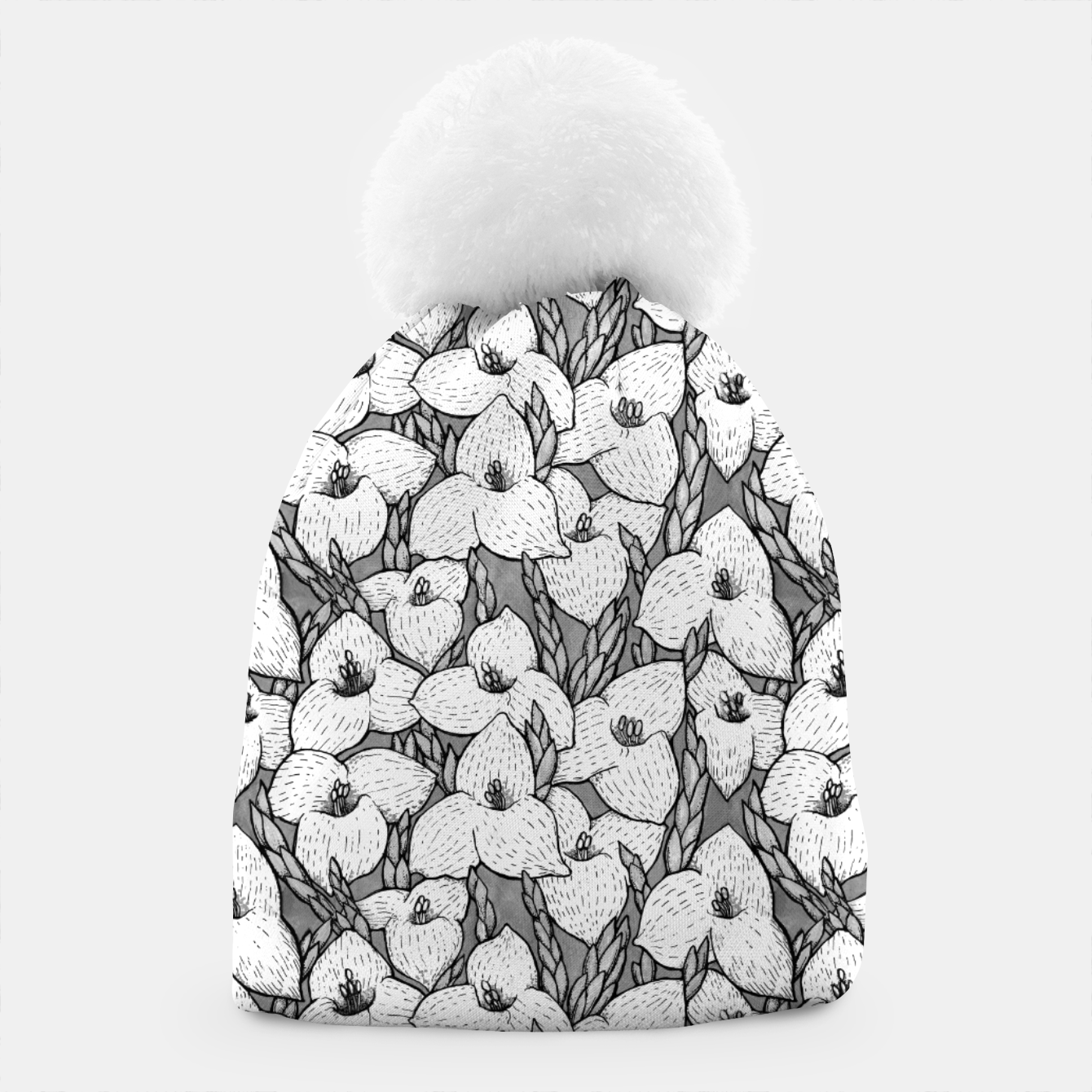 Image of Puya Flowers Floral Botanical Pattern White Grey  Beanie - Live Heroes
