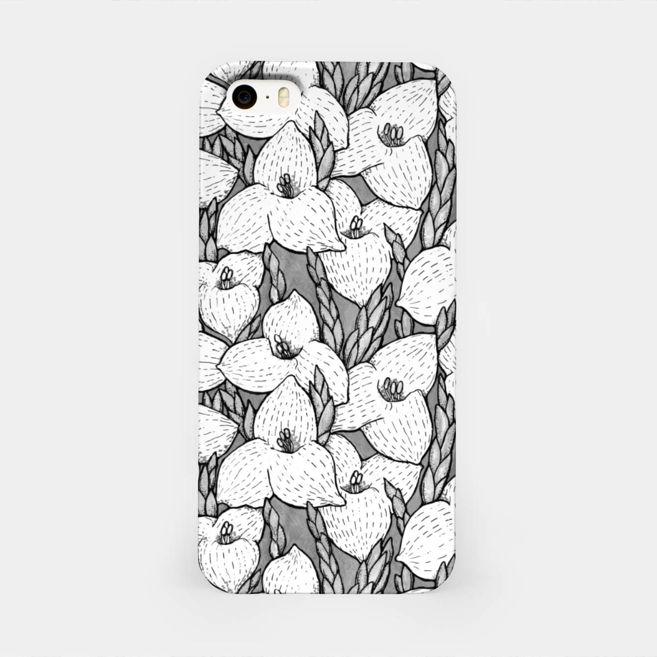 Image of Puya Flowers Floral Botanical Pattern White Grey  iPhone Case - Live Heroes