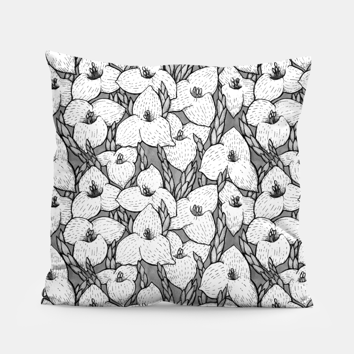 Image of Puya Flowers Floral Botanical Pattern White Grey  Pillow - Live Heroes