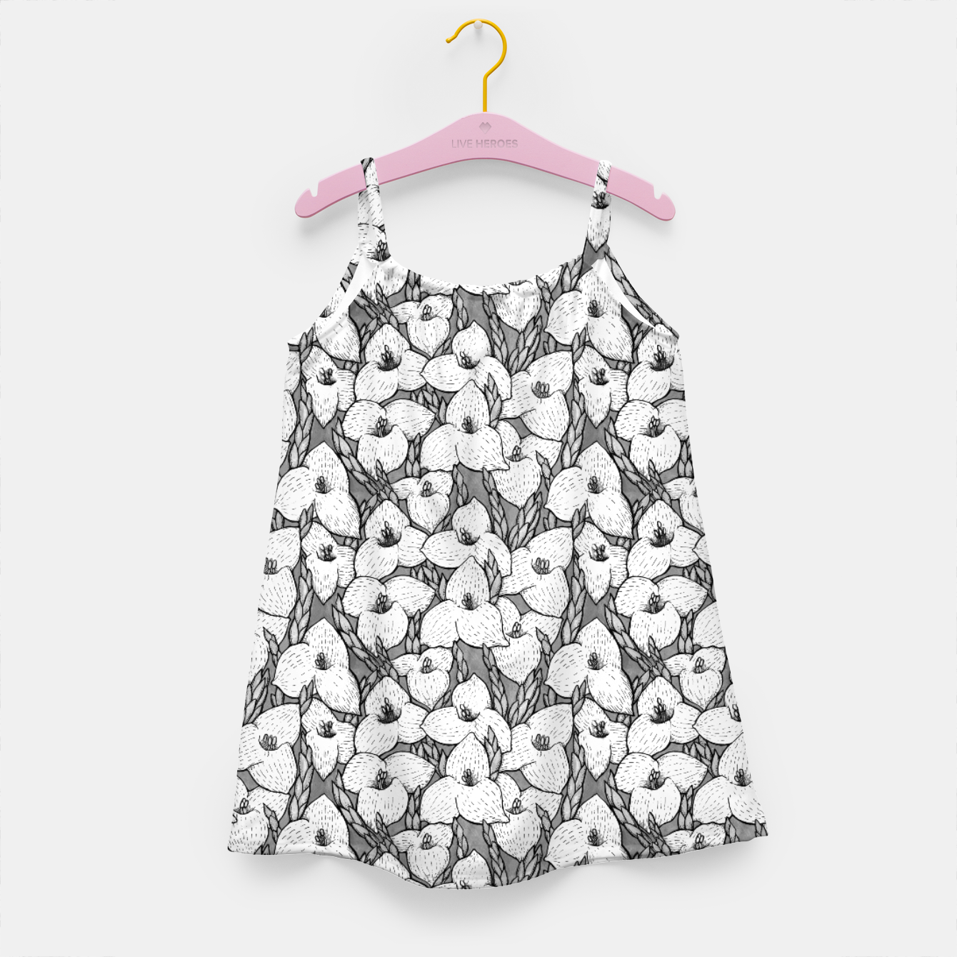Image of Puya Flowers Floral Botanical Pattern White Grey  Girl's dress - Live Heroes