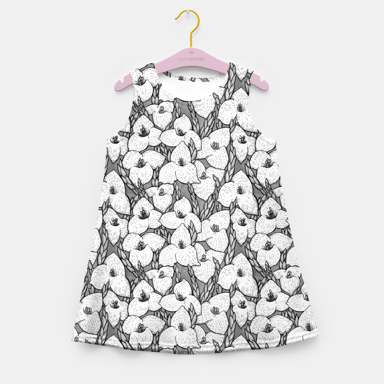Image of Puya Flowers Floral Botanical Pattern White Grey  Girl's summer dress - Live Heroes