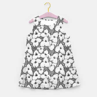 Puya Flowers Floral Botanical Pattern White Grey  Girl's summer dress thumbnail image