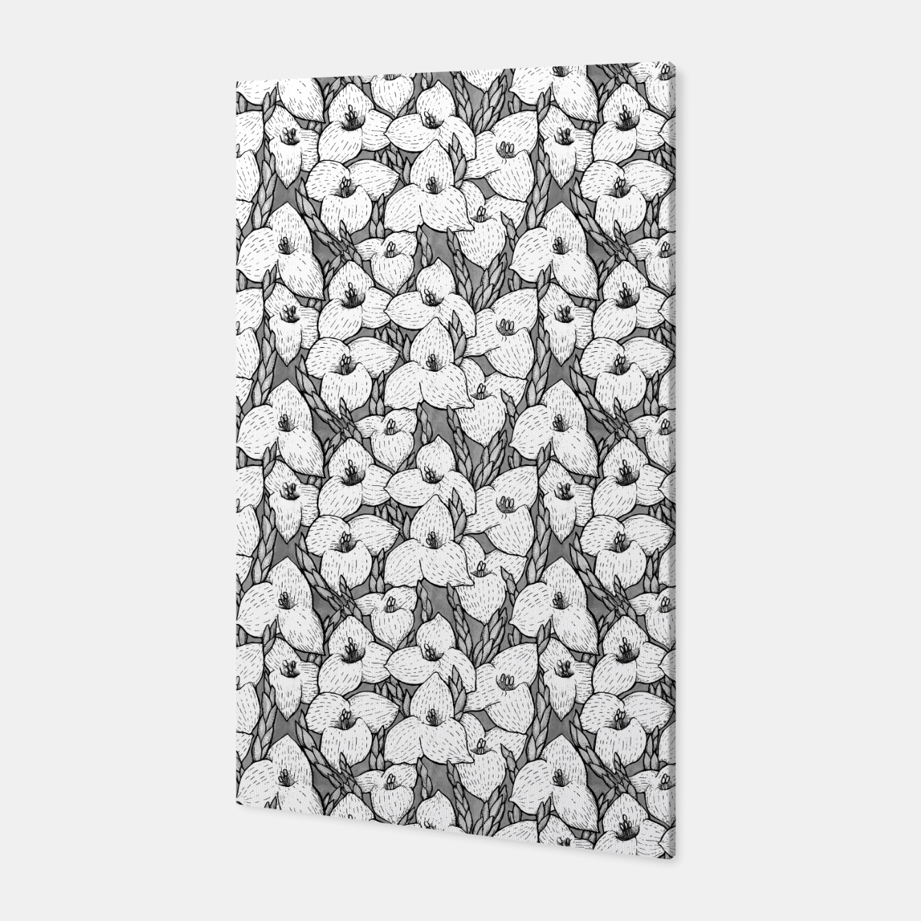 Image of Puya Flowers Floral Botanical Pattern White Grey  Canvas - Live Heroes