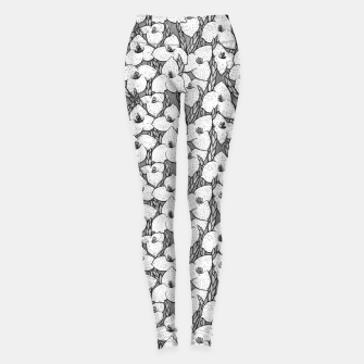 Thumbnail image of Puya Flowers Floral Botanical Pattern White Grey  Leggings, Live Heroes