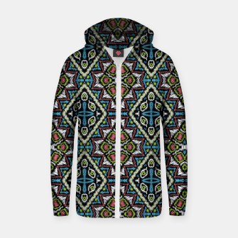 Thumbnail image of Seamless embroidery tribal ethno boho ornamental pattern background Zip up hoodie, Live Heroes