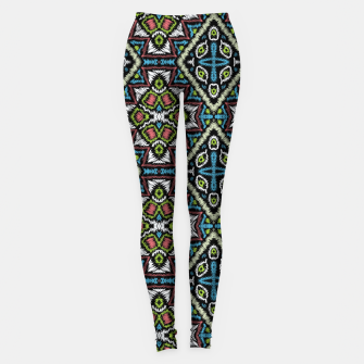 Thumbnail image of Seamless embroidery tribal ethno boho ornamental pattern background Leggings, Live Heroes