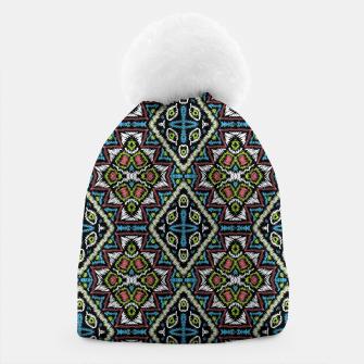 Thumbnail image of Seamless embroidery tribal ethno boho ornamental pattern background Beanie, Live Heroes