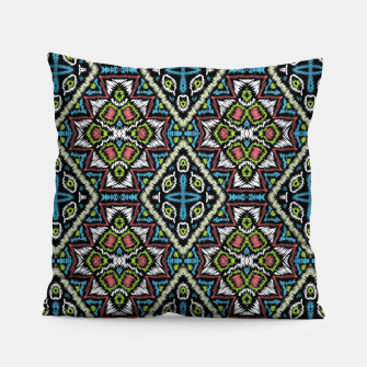 Thumbnail image of Seamless embroidery tribal ethno boho ornamental pattern background Pillow, Live Heroes