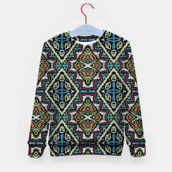 Thumbnail image of Seamless embroidery tribal ethno boho ornamental pattern background Kid's sweater, Live Heroes
