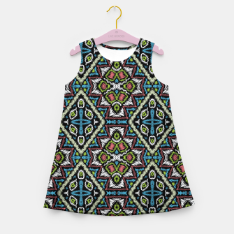 Thumbnail image of Seamless embroidery tribal ethno boho ornamental pattern background Girl's summer dress, Live Heroes