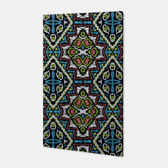 Thumbnail image of Seamless embroidery tribal ethno boho ornamental pattern background Canvas, Live Heroes