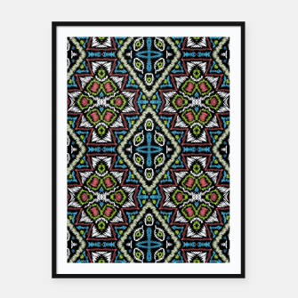 Thumbnail image of Seamless embroidery tribal ethno boho ornamental pattern background Framed poster, Live Heroes