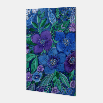 Thumbnail image of Watercolor blue night flowers Canvas, Live Heroes