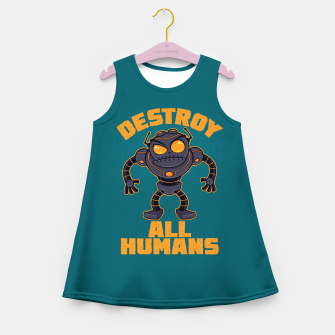 Miniatur Destroy All Humans Angry Robot Girl's summer dress, Live Heroes