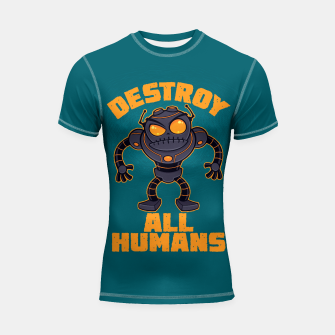 Miniatur Destroy All Humans Angry Robot Shortsleeve rashguard, Live Heroes