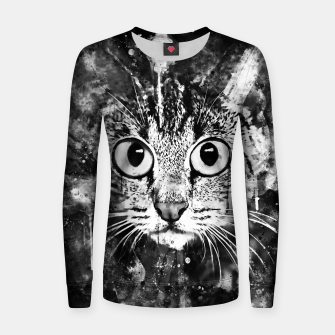 Thumbnail image of cat big eyes wsbw Women sweater, Live Heroes