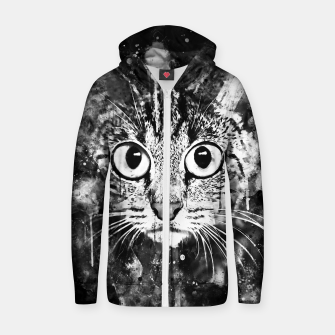Miniature de image de cat big eyes wsbw Zip up hoodie, Live Heroes