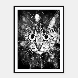 Miniature de image de cat big eyes wsbw Framed poster, Live Heroes