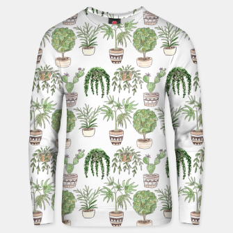 Thumbnail image of Watercolor plants in pots pattern Unisex sweater, Live Heroes