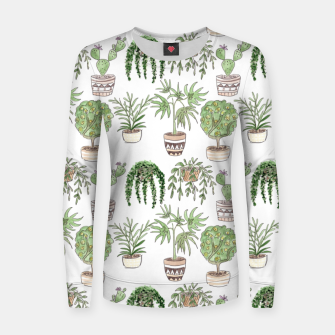 Thumbnail image of Watercolor plants in pots pattern Women sweater, Live Heroes