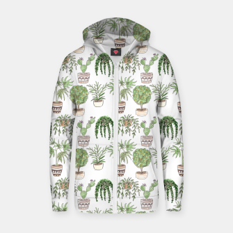 Thumbnail image of Watercolor plants in pots pattern Zip up hoodie, Live Heroes