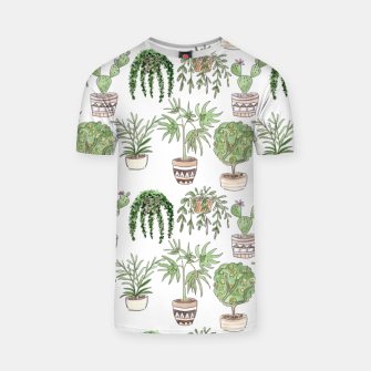 Thumbnail image of Watercolor plants in pots pattern T-shirt, Live Heroes