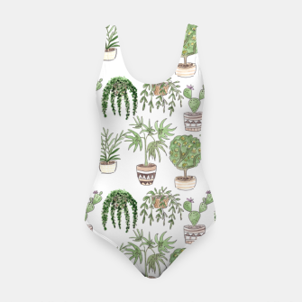 Thumbnail image of Watercolor plants in pots pattern Swimsuit, Live Heroes