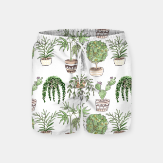 Thumbnail image of Watercolor plants in pots pattern Swim Shorts, Live Heroes