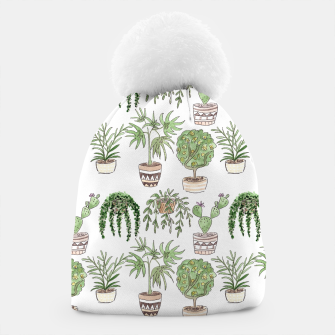 Thumbnail image of Watercolor plants in pots pattern Beanie, Live Heroes