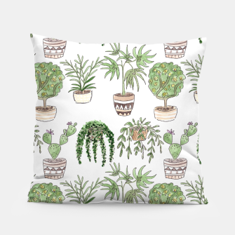 Thumbnail image of Watercolor plants in pots pattern Pillow, Live Heroes