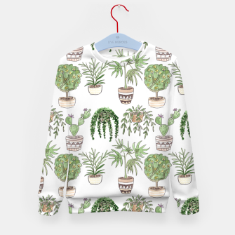 Thumbnail image of Watercolor plants in pots pattern Kid's sweater, Live Heroes