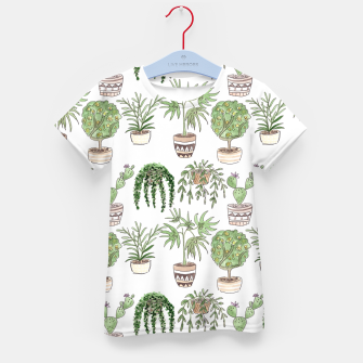 Thumbnail image of Watercolor plants in pots pattern Kid's t-shirt, Live Heroes