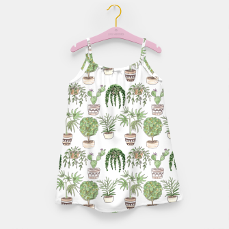 Thumbnail image of Watercolor plants in pots pattern Girl's dress, Live Heroes