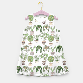Thumbnail image of Watercolor plants in pots pattern Girl's summer dress, Live Heroes