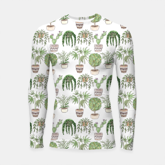 Thumbnail image of Watercolor plants in pots pattern Longsleeve rashguard , Live Heroes