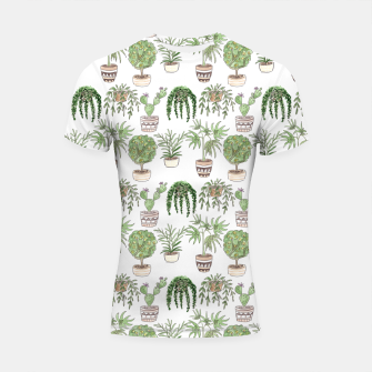 Thumbnail image of Watercolor plants in pots pattern Shortsleeve rashguard, Live Heroes