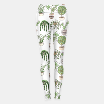 Thumbnail image of Watercolor plants in pots pattern Leggings, Live Heroes