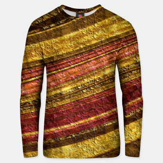 Thumbnail image of Foil golden wave textured print brown red yellow colors Unisex sweater, Live Heroes