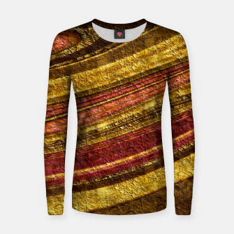 Thumbnail image of Foil golden wave textured print brown red yellow colors Women sweater, Live Heroes