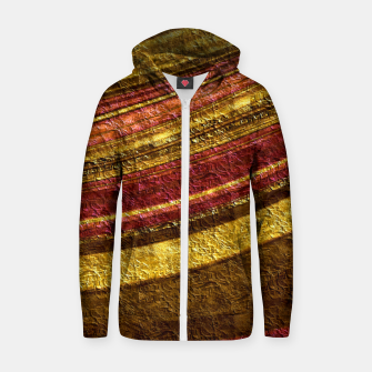 Thumbnail image of Foil golden wave textured print brown red yellow colors Zip up hoodie, Live Heroes