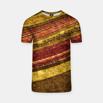 Thumbnail image of Foil golden wave textured print brown red yellow colors T-shirt, Live Heroes