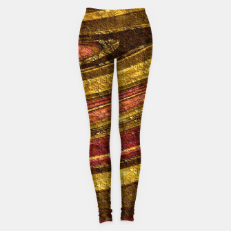 Thumbnail image of Foil golden wave textured print brown red yellow colors Leggings, Live Heroes