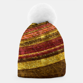 Thumbnail image of Foil golden wave textured print brown red yellow colors Beanie, Live Heroes