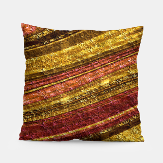 Thumbnail image of Foil golden wave textured print brown red yellow colors Pillow, Live Heroes