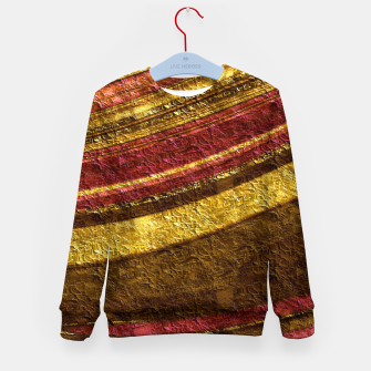 Thumbnail image of Foil golden wave textured print brown red yellow colors Kid's sweater, Live Heroes