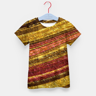 Thumbnail image of Foil golden wave textured print brown red yellow colors Kid's t-shirt, Live Heroes